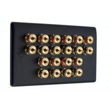 Matt Black Slimline 10.0 Speaker Wall Plate - 20 Terminals - No Soldering Required