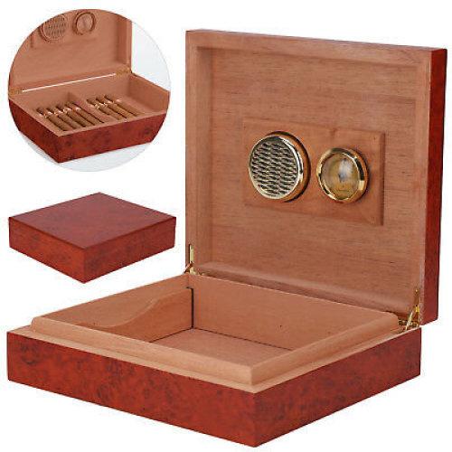 Brown Cedar Wood Wooden Lined Cigar Humidor Humidifier + Hygrometer Case Box