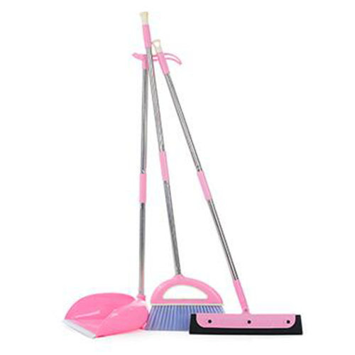 Durable Removable Broom and Dustpan Standing Upright Grips Sweep Set with Long Handle, #A5