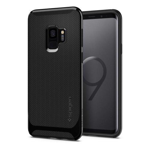 official photos e4e40 9766c Spigen Neo Hybrid Galaxy S9 Plus Case with Flexible Herringbone Pattern  Protection and Reinforced Hard Bumper Frame - Shiny Black