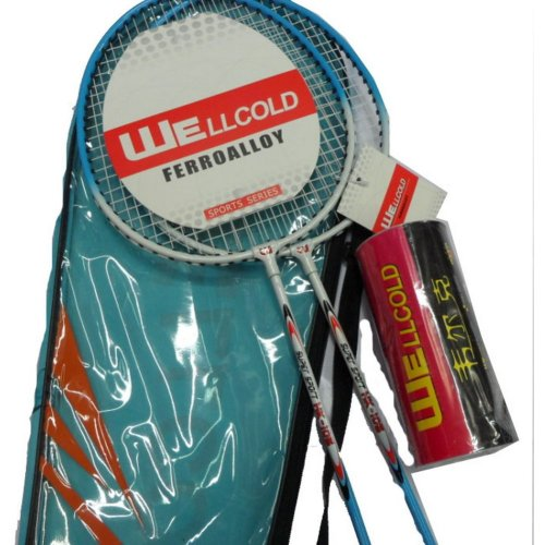 Cheap Badminton Rackets Recreational Rackets with Case Badminton Set Blue