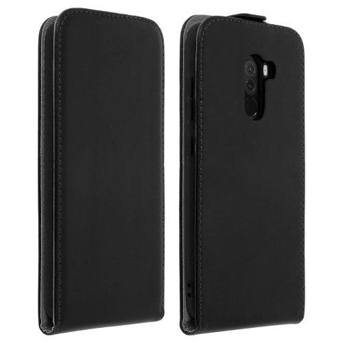 Vertical flip case leather magnetic case for Pocophone F1 - Black