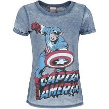 MARVEL COMICS Captain America Super-Powered Solider Faded L T-Shirt - Blue