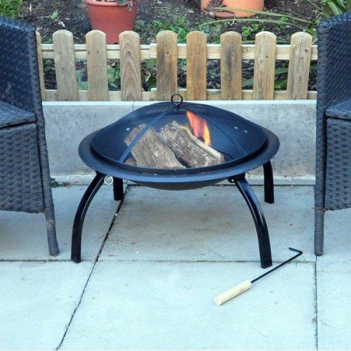 Outdoor Garden Patio Firepit Heater - Fire Pit Kingfisher Bbq Steel Black Mesh -  patio garden fire heater outdoor pit kingfisher bbq firepit steel