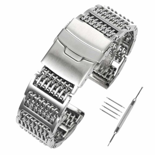YISUYA Solid 316L H-Link Stainless Steel Shark Mesh Watch Strap Band 24mm  Width Silver