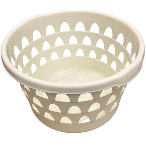 Round Laundry Basket Washing Basket Laundry Hamper With Textured Handles (Cream)