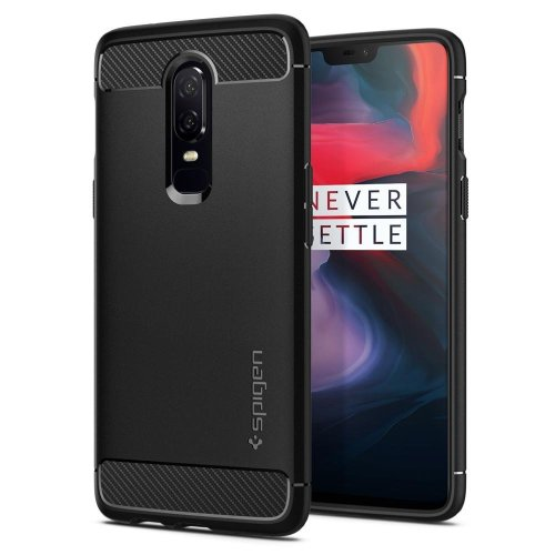 OnePlus 6 Case, Spigen [Rugged Armor] [Black] Original Patent Carbon Fiber Design Flexible Slim TPU Smooth Grip Protection Phone Case Cover for...