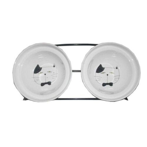 Little Double Bowls Set Ceramic Feeding Pot/Pet Bowls/Dog Bowls/Cat Bowls For Food & Water S Size(C#09)