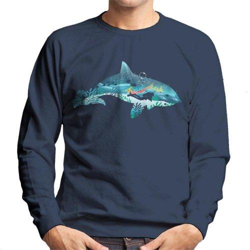 Dolphin Scuba Diver Silhouette Men's Sweatshirt