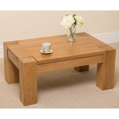 Kuba Chunky Solid Oak Coffee Table Living Room Furniture On Onbuy