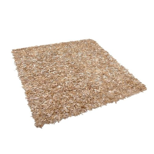 Leather Area Rug 200 x 200 cm Beige MUT