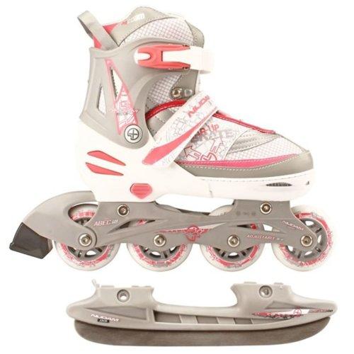 Nijdam Inline Combo Ice Skates 39-42 White/Silver/Pink 52SZ
