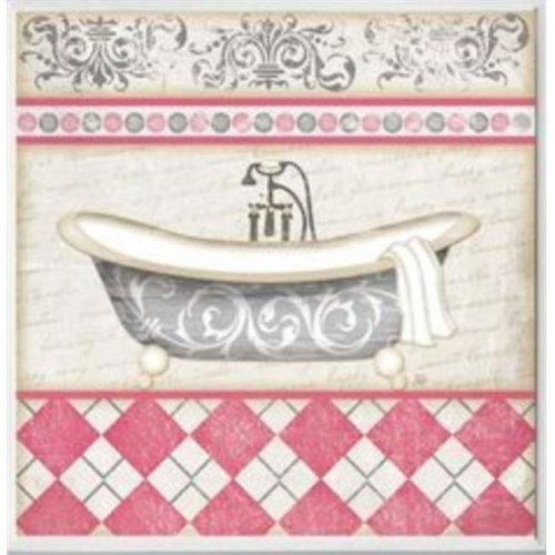 Stupell Industries WRP-1001 Pink Bath with Tub Square Wall Plaque