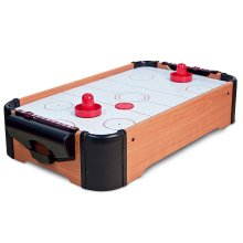 GLOW Table Top Air Hockey Game - Large Electric Desktop Quality Wooden Sport Board Football Game with Battery Powered High Speed Air Cushion Fan, 2 x Pucks and 2 x Paddles - Classic Lightweight and Portable Novelty Retro Home Arcade Family Fun Wood T