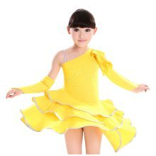 Girls Latin Costume Performance Dress With Gloves YELLOW (120CM Height)