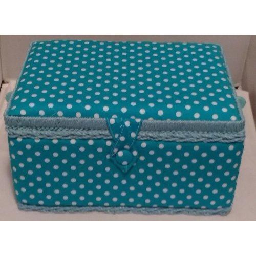 HobbyGift Medium Sewing basket - Blue Polka Dot - 26.5 x 19.5 x 14cm