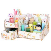 Fashion Wooden Makeup Storage Box Cosmetic Display Organizer Printing Begonia