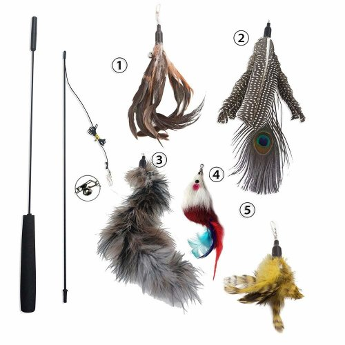 [AIDIYA] Cat Toy Feather Wand (Includes 5x Feather Refills) Guaranteed to Drive Your Cat Wild