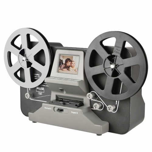"Super 8 Roll Film & Regular 8 Roll Film Reels Scanner(5""&3"") Digital Vido Scanner and Movie Digitizer for 8mm/S8 mm film with 2.4"" LCD, Black (Film2Digital MovieMaker) with 32 GB SD Card"