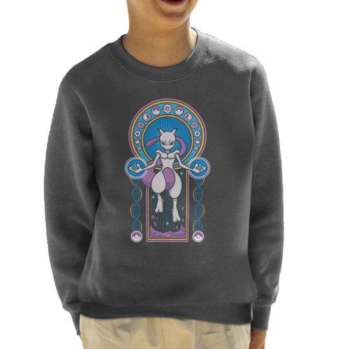 Mewtwo Stained Glass Pokemon Kid's Sweatshirt