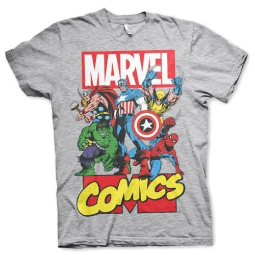 Men's Marvel Comics Superheroes Grey T-Shirt: Large