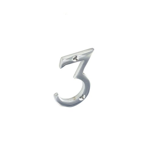 Securit S3803 Chrome Numeral 3 50mm Pack Of 1