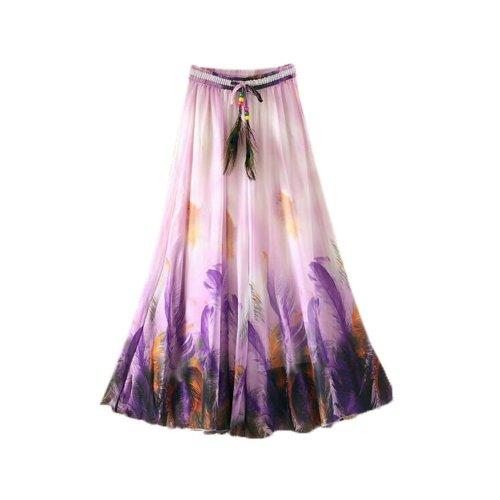 Purple Feathers Pattern Summer Chiffon Skirt Large Swing Skirts Fairy Skirt