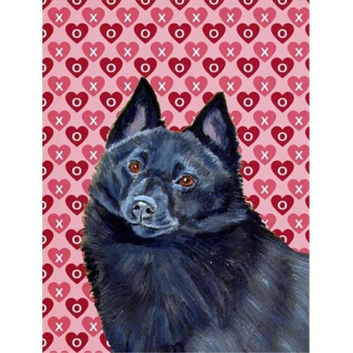 Carolines Treasures LH9159CHF 28 x 40 in. Schipperke Hearts Love And Valentines Day Portrait Flag Canvas House Size