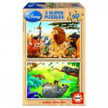 Jigsaw Puzzles - 50 pieces each - 2 in 1 - Wooden - Disney : My Animals Ffriends