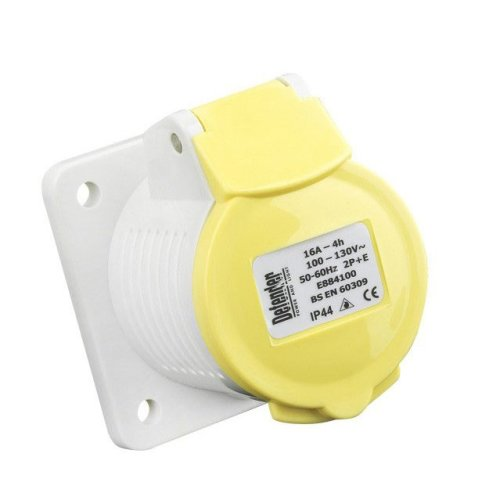 Defender 110v 16amp Yellow Panel Socket E884100