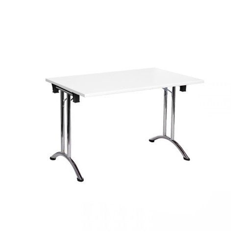 Folding Computer Desk Office Dining Table Workstation White Top Chrome Frame 120x80cm