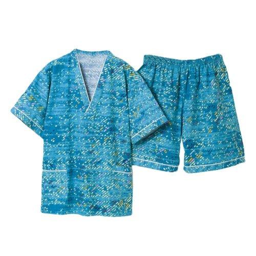 Turquoise Men Pajamas Suit Short Pajamas Loungewear Cotton Khan Steam Clothes