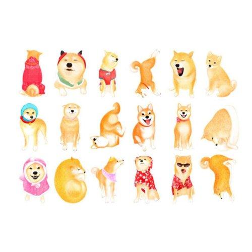 Cute Shiba Inu Shape Pattern Postcards Set of 30