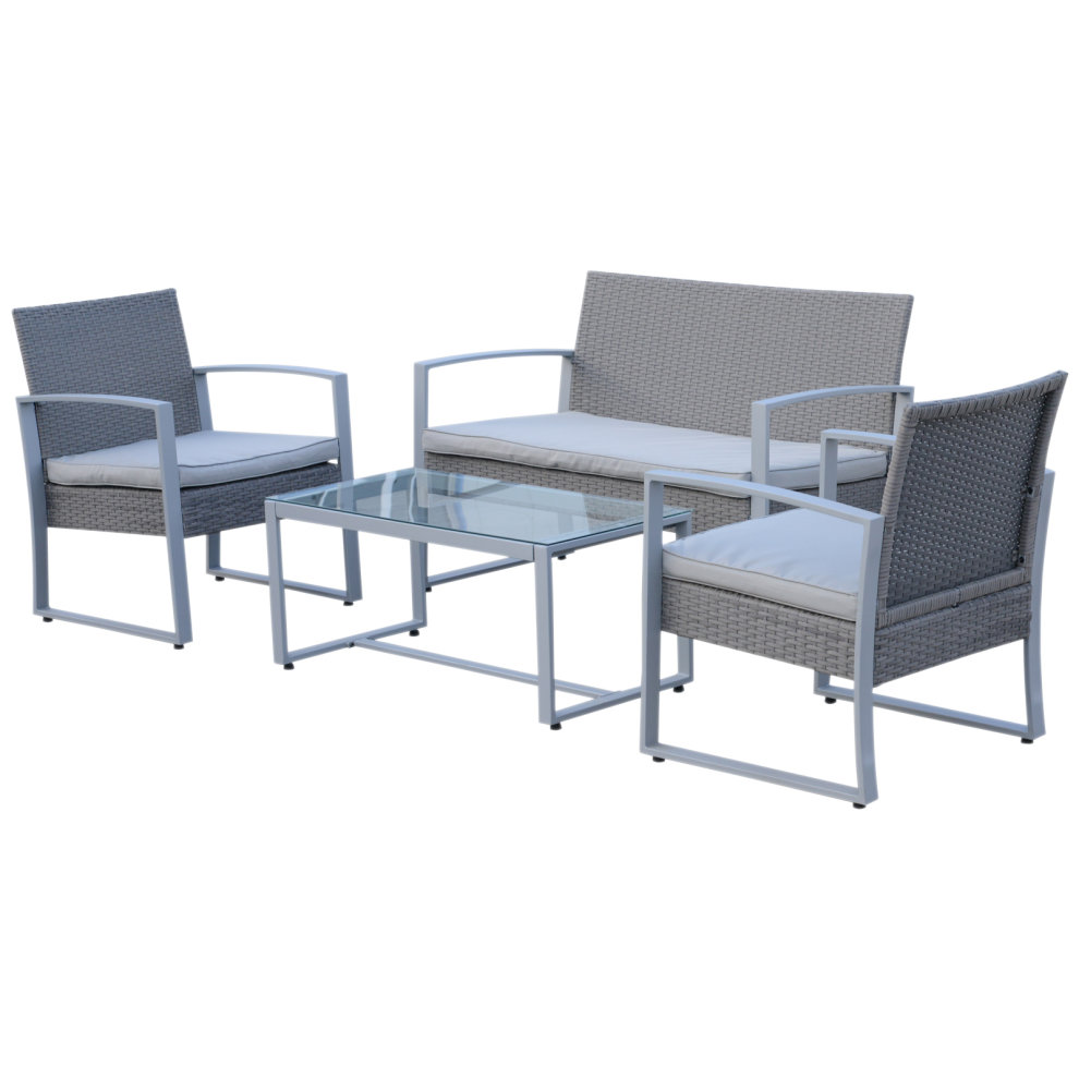 Fine Outsunny 4 Pcs Garden Rattan Furniture Sofa Set Outdoor Patio Wicker Weave Arm Chairs Bench Coffee Table Loveseat With Cushions Backyard Grey Beutiful Home Inspiration Aditmahrainfo