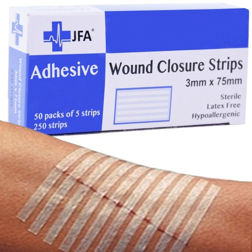 250 JFA Medical Wound Closure Strips (3 x 75mm) - 5 strips per pack