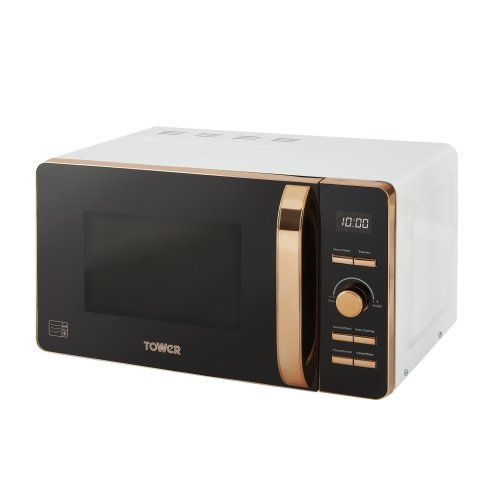 Tower T24021W Digital Solo Microwave with 6 Power Levels, 800 W, 20 liters, White and Rose Gold