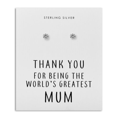 Sterling Silver 5mm CZ Earrings - World's Greatest Mum