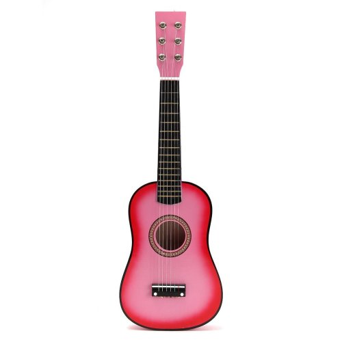 """Pink 23"""" Wooden Beginners Mini Acoustic Guitar 6 String Gift Children Music Toy"""