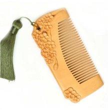 Plum Blossom GREEN Macrame Pecan Comb  Anti-static Wooden Comb