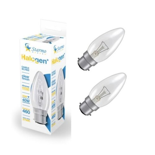 2 X Starmo 33W = 40W Bc/B22 Candle Long Life Clear Eco Halogen Light Bulbs Dimmable Energy Saving 460 Lumens