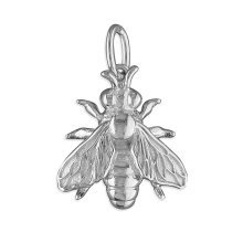 Mens Sterling Silver Honey Bee Pendant On A Black Leather Cord Necklace