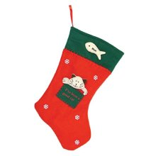 Felt cat christmas stocking with 3 dimensional cat face and fish design.