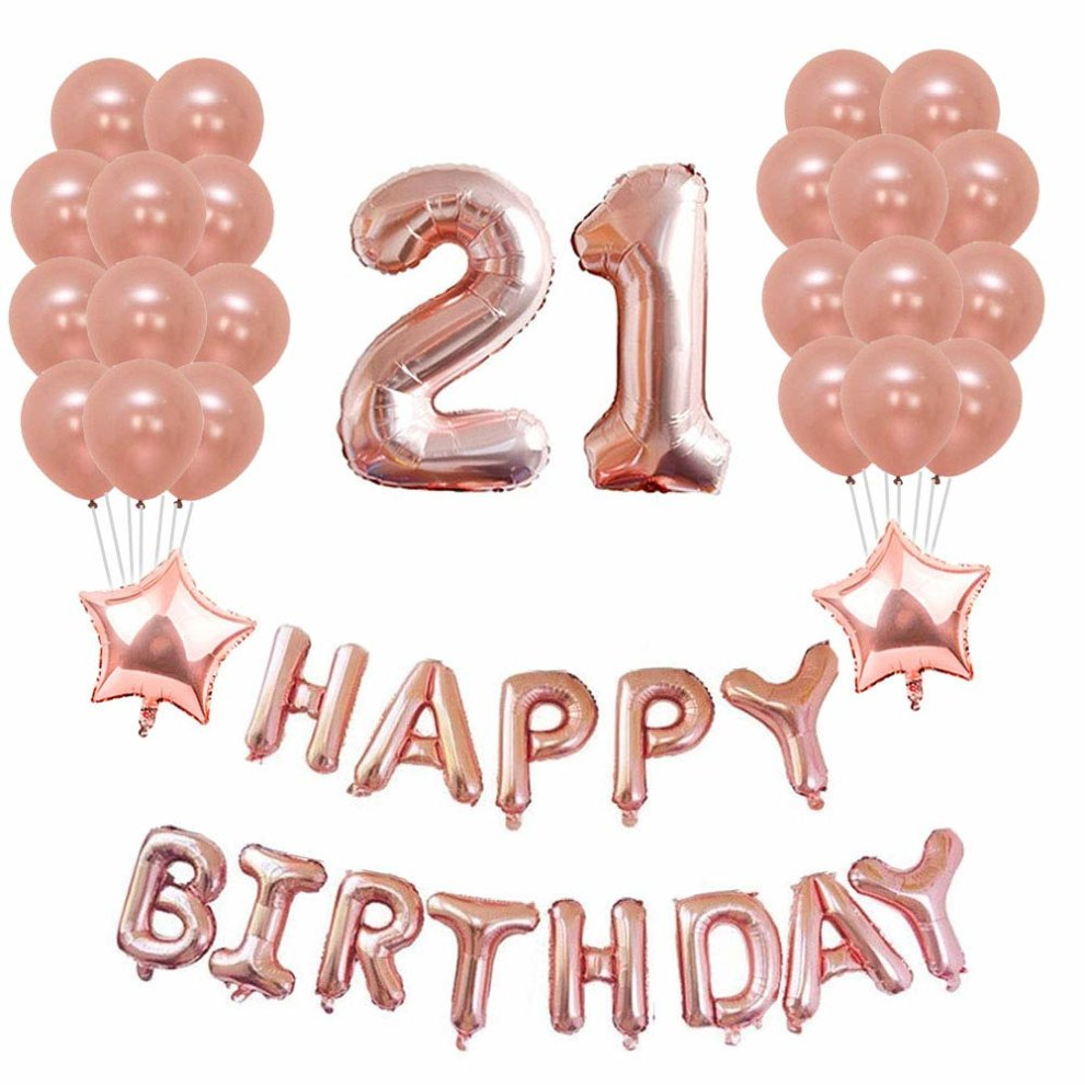 Yoart 21st Birthday Decorations Rose Gold Party Sets Happy Banner 2 Star Foil Balloon 20 Latex Balloons On OnBuy
