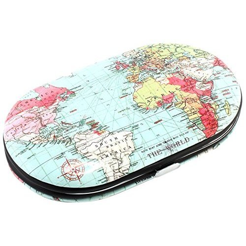 Lesser & Pavey World Map Design 5 Piece Hard Case  Manicure Set