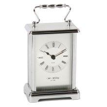 William Widdop Silver Finish Carriage Clock 16cms W4312