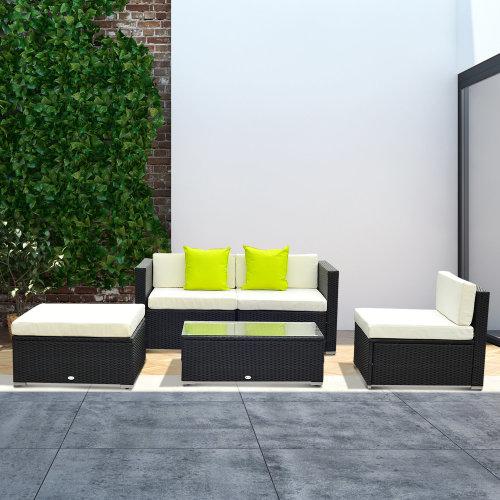 Outsunny 5 PCS Rattan Sofa Set-Black