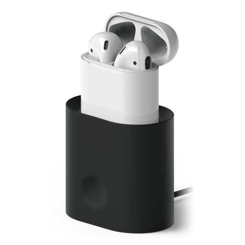elago AirPods Stand Charging Station for Apple AirPods Case - [Cable Management] [Long-lasting Dock] [Modern Design] - Black