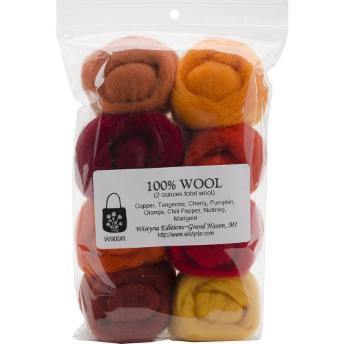 """Wistyria Editions Wool Roving 12"""" .25oz 8/Pkg-Fire"""