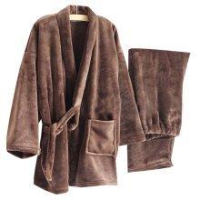 Men's Kimono Pajamas Warm Flannel Khan Steamed Clothes,Brown