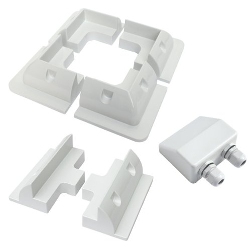 Mounting set for fixing solar panels to flat roofs, consists of 4 corner plastic mounting brackets, 2 side brackets and a waterproof double entry...